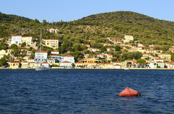 Traditional houses in Vathy Ithaca island Royalty Free Stock Photo
