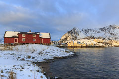 Traditional houses in the village of Henningsvaer Royalty Free Stock Photos