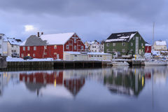Traditional houses in the village of Henningsvaer Royalty Free Stock Image