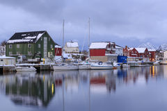 Traditional houses in the village of Henningsvaer stock images