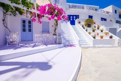 Iconic traditional Ios island, Cyclades, Greece. Traditional houses, wind mills and churches in Ios island, Cyclades, Greece royalty free stock photos