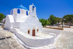 Iconic traditional Ios island, Cyclades, Greece. Traditional houses, wind mills and churches in Ios island, Cyclades, Greece stock images