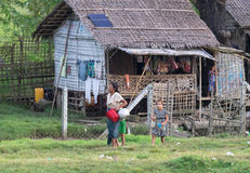Traditional housing in the Rakhine State, environment Royalty Free Stock Photo