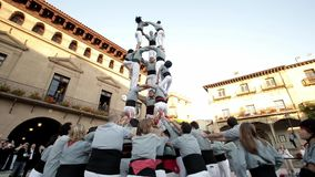 Traditional human tower in Spain