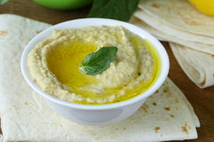Traditional hummus dip of chickpea with pita bread Royalty Free Stock Photo