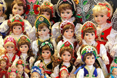 Traditional hungarian artistic dress on puppets as souvenir Stock Photos