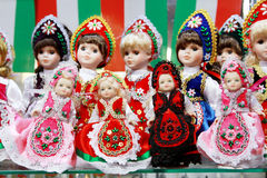Traditional hungarian artistic dress on puppets as souvenir Stock Images