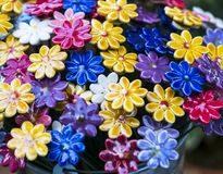Traditional Hungarian ceramic flowers to decorate the interior. Of gardens and flower pots Stock Images