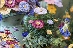 Traditional Hungarian ceramic flowers to decorate the interior. Of gardens and flower pots Stock Photography