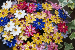Traditional Hungarian ceramic flowers to decorate the interior Royalty Free Stock Photo