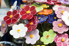 Traditional Hungarian ceramic flowers to decorate the interior. Of gardens and flower pots Stock Photo