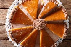 Traditional Hungarian Dobosh cake with caramel decoration macro. Stock Photo