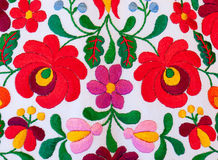 Traditional Hungarian embroidery. With floral motives stock image