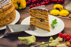 Traditional Hungarian Esterhazy cake .selective focus .  with chocolate piece  a name of the : Royalty Free Stock Photo