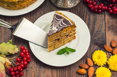 Traditional Hungarian Esterhazy cake .selective focus .  with chocolate piece  a name of the :. Traditional Hungarian Esterhazy cake .selective focus .Esterhazy Royalty Free Stock Image