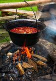 Traditional Hungarian Goulash soup in cauldron. Meal cooked outdoors on an open fire. delicious and healthy food popular in Central Europe stock photo