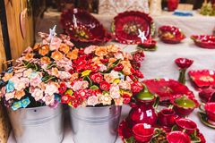 Traditional Hungarian handmade ceramics for interior decoration in the market in Budapest, Hungary. Traditional Hungarian handmade ceramics flowers for interior royalty free stock photography