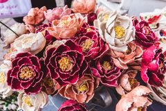 Traditional Hungarian handmade ceramics for interior decoration in the market in Budapest, Hungary. Traditional Hungarian handmade ceramics flowers for interior stock photography