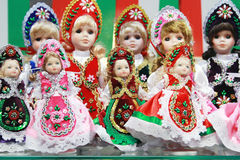 Traditional hungarian handmade toys puppets dolls in symbolic ar Royalty Free Stock Photo