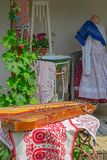 Traditional Hungarian objects exhibited on one home porch Royalty Free Stock Photo