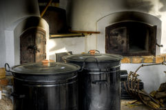 Traditional hungarian rural kitchen. With oven for burning wood Stock Photography