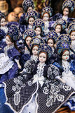 Traditional Hungarian souvenir dolls at market Stock Photo