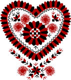 Traditional Hungarian vintage heart-shaped embroidery pattern. (region: Buzsak vector illustration