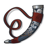 Traditional hunting horn in ethnic style Stock Photography