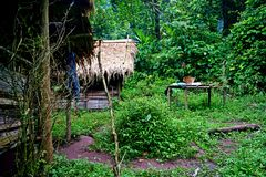 Traditional hut, campsite in lush tropical forest, Nam Ha National Protected Area, Laos. The Nam Ha NPA, located in Luang Namtha province, is Lao s first stock photos