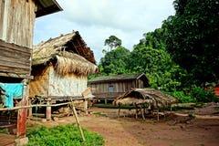 Traditional hut in Khmu village Nalan Neua, Luang Namtha province, Laos stock photo