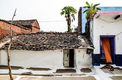 Traditional hut, Rajasthan, India. Traditional indian huts having clay and cow dung roofing tiles Royalty Free Stock Image