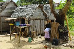 Traditional huts in Madagascar, Africa Stock Photo