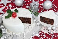 Traditional Iced Christmas Cake Stock Images