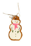 Traditional Iced Gingerbread Christmas Cookies Snowmen Isolated Stock Images