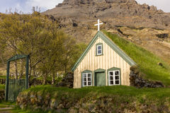 Traditional icelandic church buried the ground Stock Photography