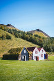 Traditional Icelandic houses with grass Royalty Free Stock Images