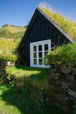 Traditional Icelandic houses with grass Stock Image