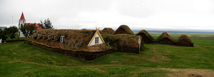Traditional Icelandic turf houses. Traditional Icelandic turf farm in Glaumbær (Skagafjörður Stock Photography