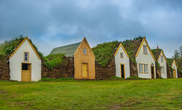 Traditional Icelandic turf houses, Glaumbaer museum Stock Images