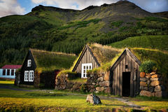 Iceland, Skógar, Houses Royalty Free Stock Image