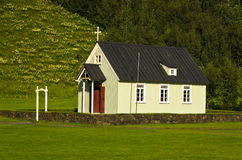 Traditional Icelandic wooden church at Skogar Royalty Free Stock Photography