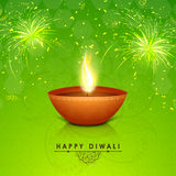Traditional illuminated lit lamp for Diwali celebration. Royalty Free Stock Images