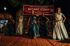 Traditional india dance. Basant utsav at Dilli Haat. New Delhi Feb. 2013 Royalty Free Stock Photo