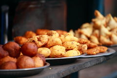 Traditional India food on the street. Stock Photography
