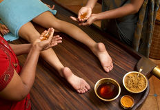 Traditional Indian Ayurvedic Oil Foot Massage Stock Photo