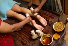 Traditional Indian Ayurvedic Oil Foot Massage Stock Photography