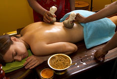 Traditional Indian Ayurvedic Oil Massage Stock Photos