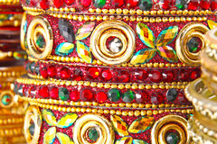 Traditional Indian bangles. With different colors and patterns Royalty Free Stock Image