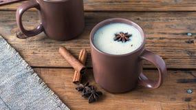 Traditional Indian black tea. Masala tea. Spiced tea with milk Stock Image