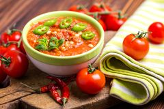 Indian Tomato Rasam with lentil, mint, cilantro and cashew Royalty Free Stock Image